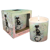 Pretty Patterned Black Cat on Blue Foil Art Design Ceramic Pot Candle